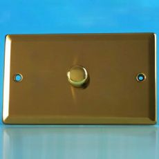 Victorian Brass Varilight 1-Gang 2-Way Push-on Push-off V-Com LED Dimmer 1 x 60-600W (Twin Plate) -